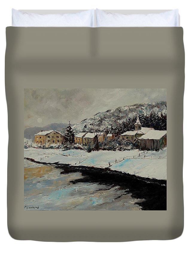 Landscape Duvet Cover featuring the painting Mouzaive by Pol Ledent
