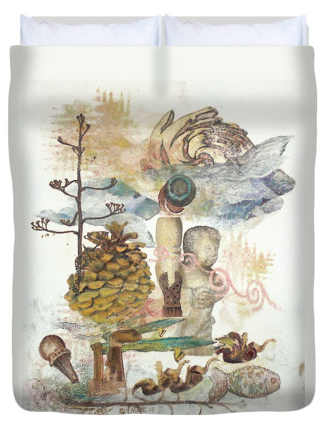 Abstract Duvet Cover featuring the painting Move Along by Valerie Meotti