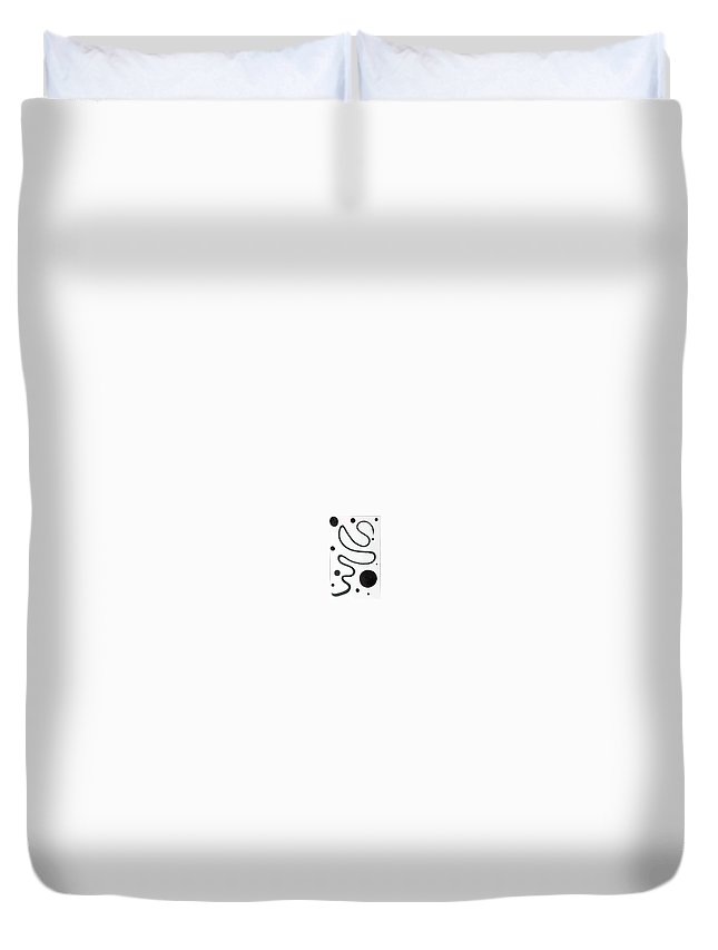 Moveonart! Digital Gallery Duvet Cover featuring the painting Moveonart Minimal Curves And Black Dots by Jacob Kanduch