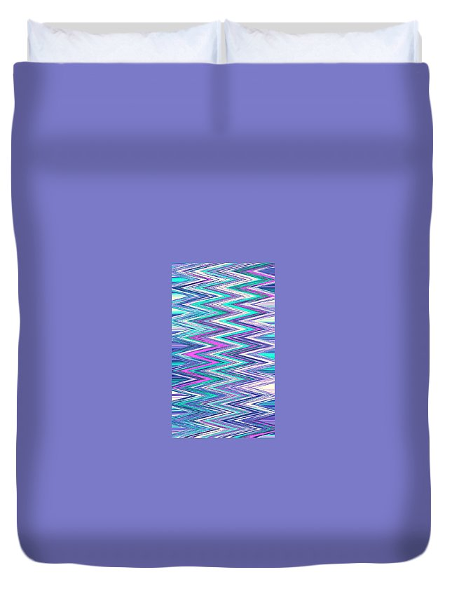 Moveonart! Digital Gallery Duvet Cover featuring the digital art Moveonart Zig Zag Therapy One by Jacob Kanduch