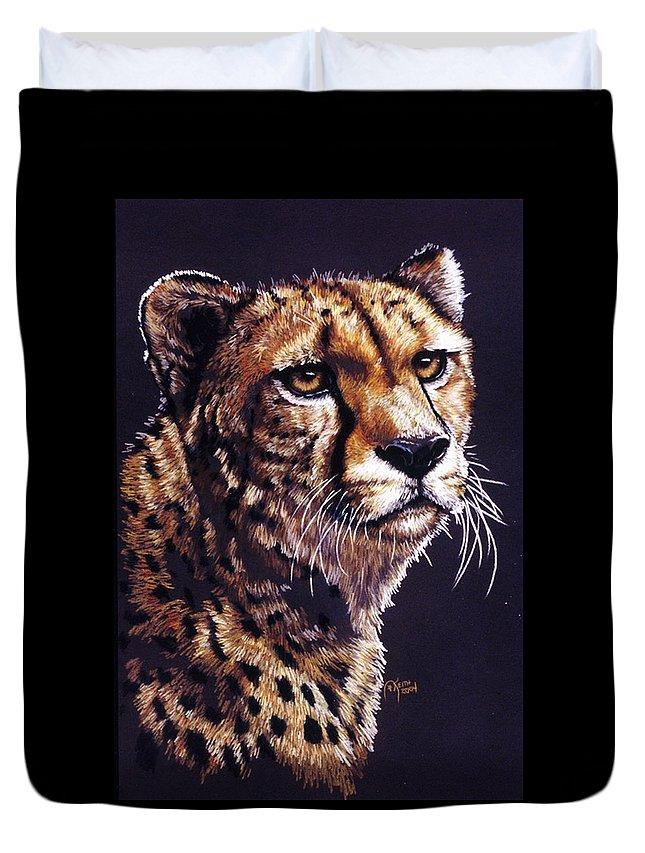 Cheetah Duvet Cover featuring the drawing Movin On by Barbara Keith