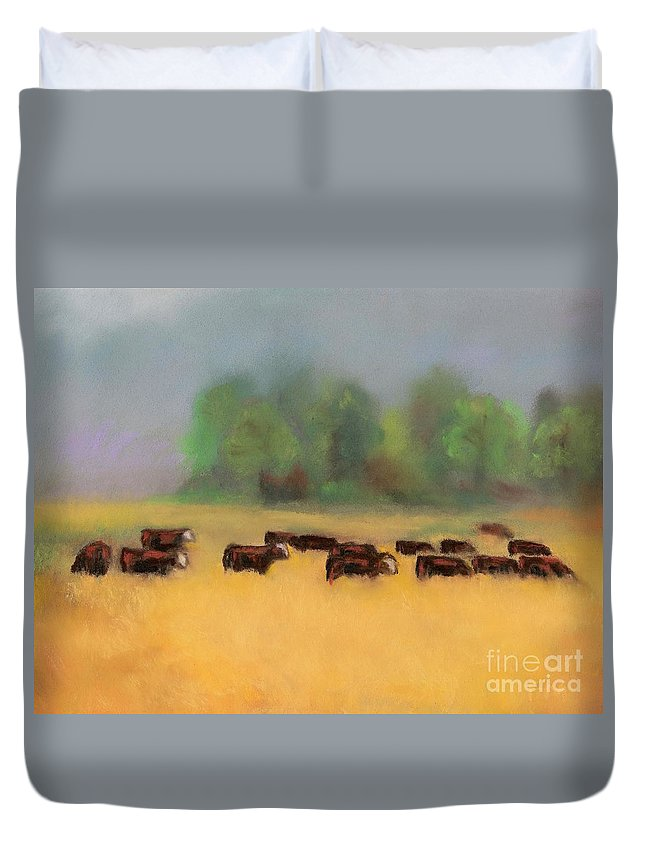 Cattle Duvet Cover featuring the painting Moving On by Frances Marino