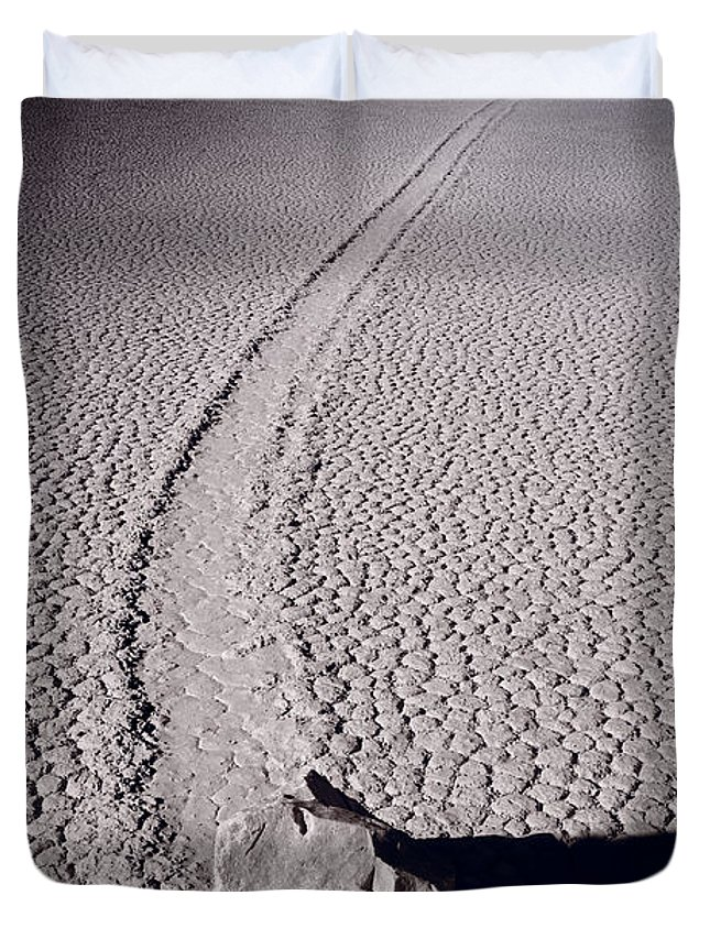 California Duvet Cover featuring the photograph Moving Rocks Number 2 Death Valley Bw by Steve Gadomski