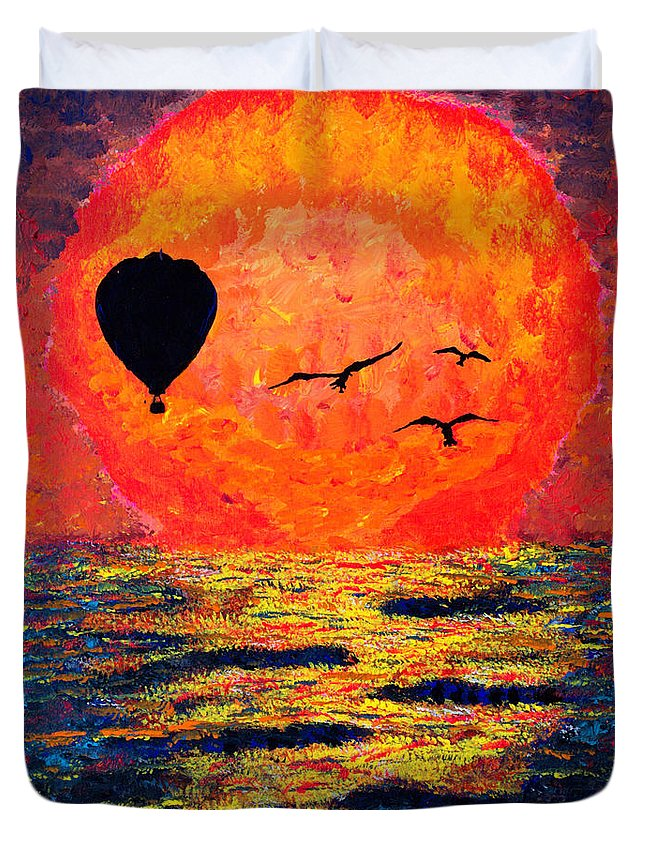 Sunset Duvet Cover featuring the painting Emocean by Eric Wait