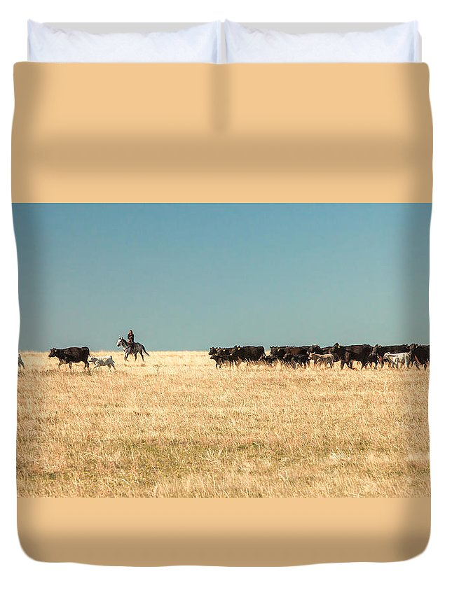 Cowgirl Duvet Cover featuring the photograph Moving The Herd by Todd Klassy