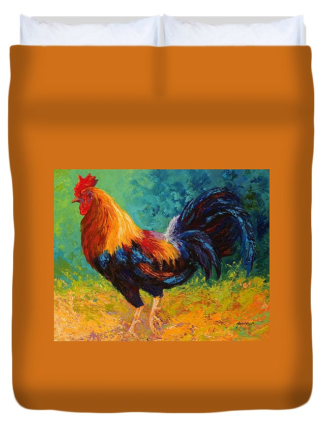 Rooster Duvet Cover featuring the painting Mr Big by Marion Rose