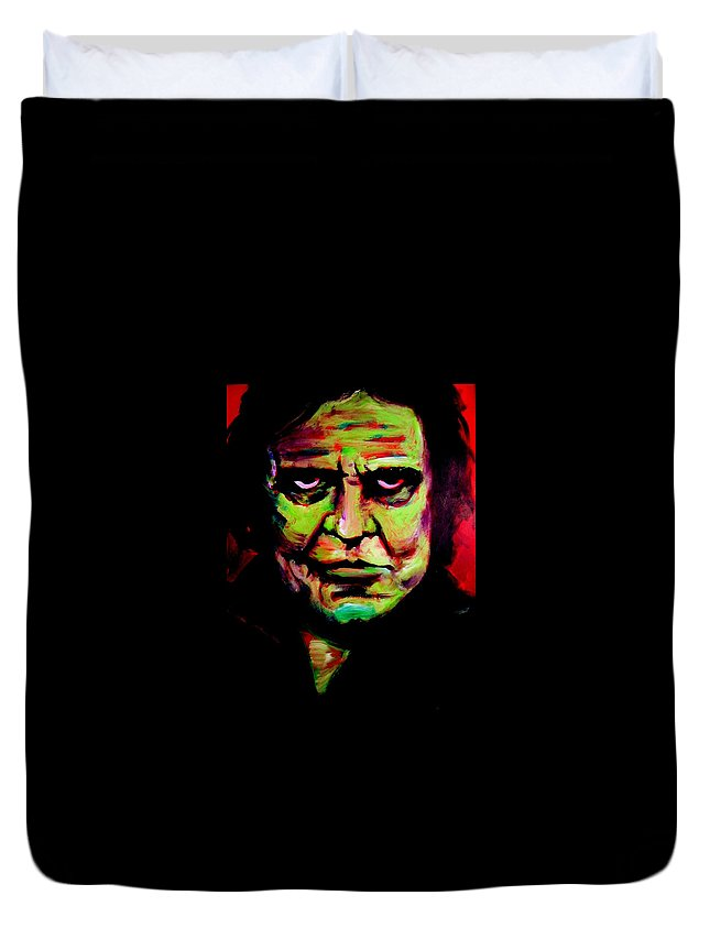 Portrait Duvet Cover featuring the painting Mr. Cash by Jason Reinhardt