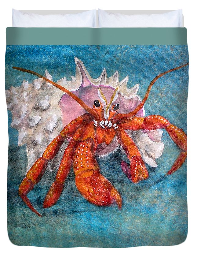 Hermit Duvet Cover featuring the painting Mr. Crab by Cindy D Chinn