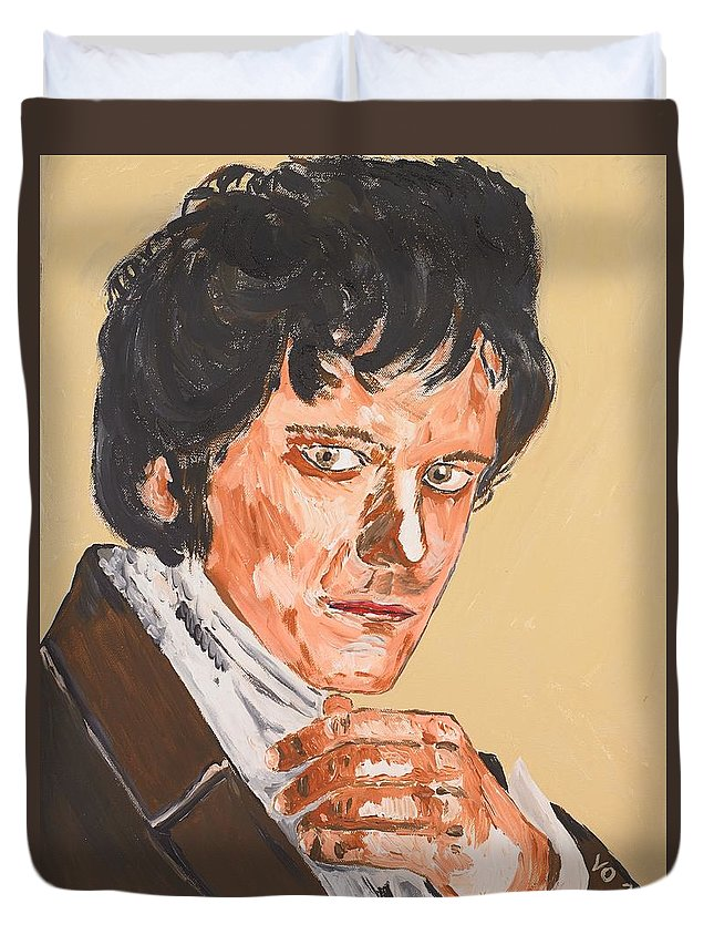 Darcy Duvet Cover featuring the painting Mr. Darcy by Valerie Ornstein