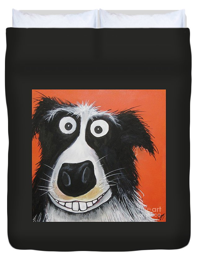 Caroline Peacock Duvet Cover featuring the painting Mr Dog by Caroline Peacock