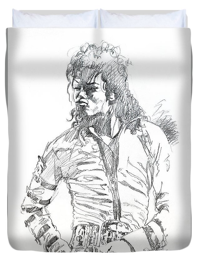 Michael Jackson Duvet Cover featuring the drawing Mr. Jackson by David Lloyd Glover