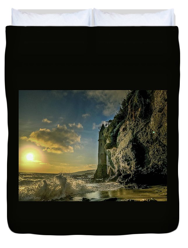 Landscape Duvet Cover featuring the photograph The Pirate's Tower by Jithin Sam