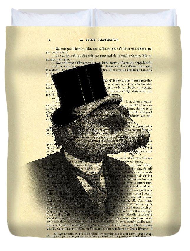 Meerkat Duvet Cover featuring the digital art Meerkat Portrait In Black And White by Madame Memento