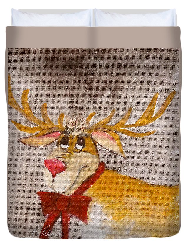 Animals Duvet Cover featuring the painting Mr Reindeer by Ruth Palmer