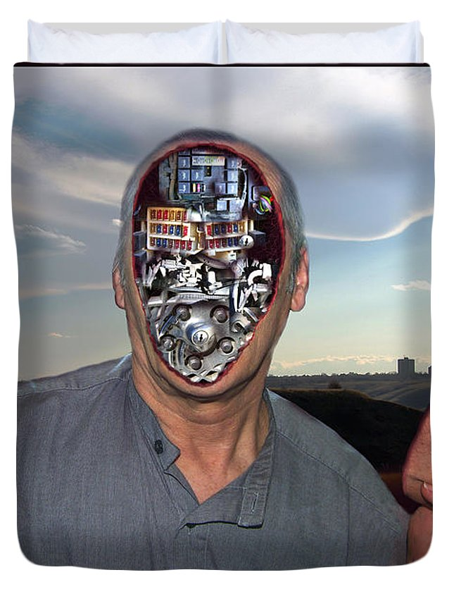 Surrealism Duvet Cover featuring the digital art Mr. Robot-Otto by Otto Rapp