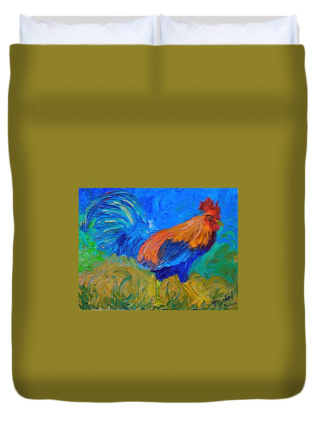 Rooster Duvet Cover featuring the painting Mr. Rooster by Michael Lee