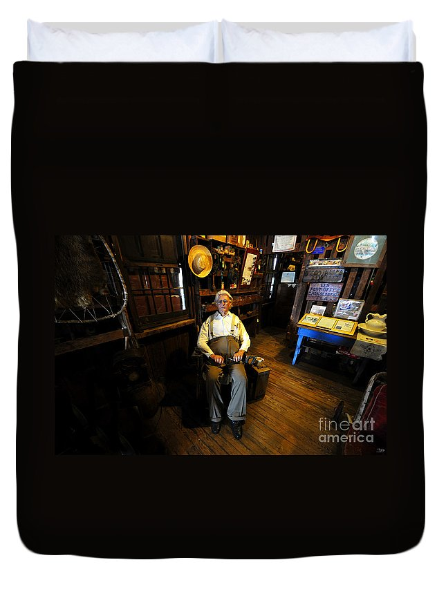 Smallwood Store Duvet Cover featuring the painting Mr. Smallwood And His Store by David Lee Thompson