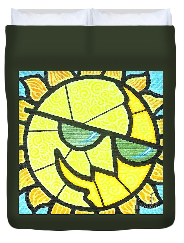 Sunshine Duvet Cover featuring the painting Mr Sunny Day by Jim Harris