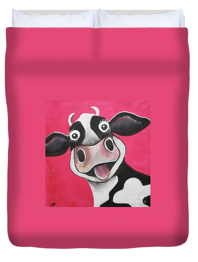 Caroline Peacock Duvet Cover featuring the painting Mrs Cow by Caroline Peacock