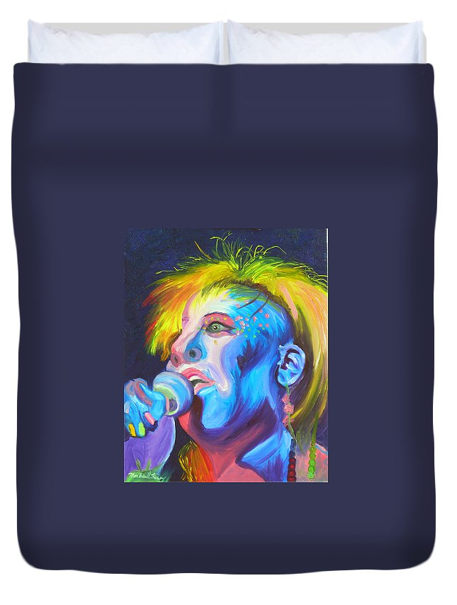 Rock Diva Duvet Cover featuring the painting Mrs Ziggy Stardust by Michael Lee