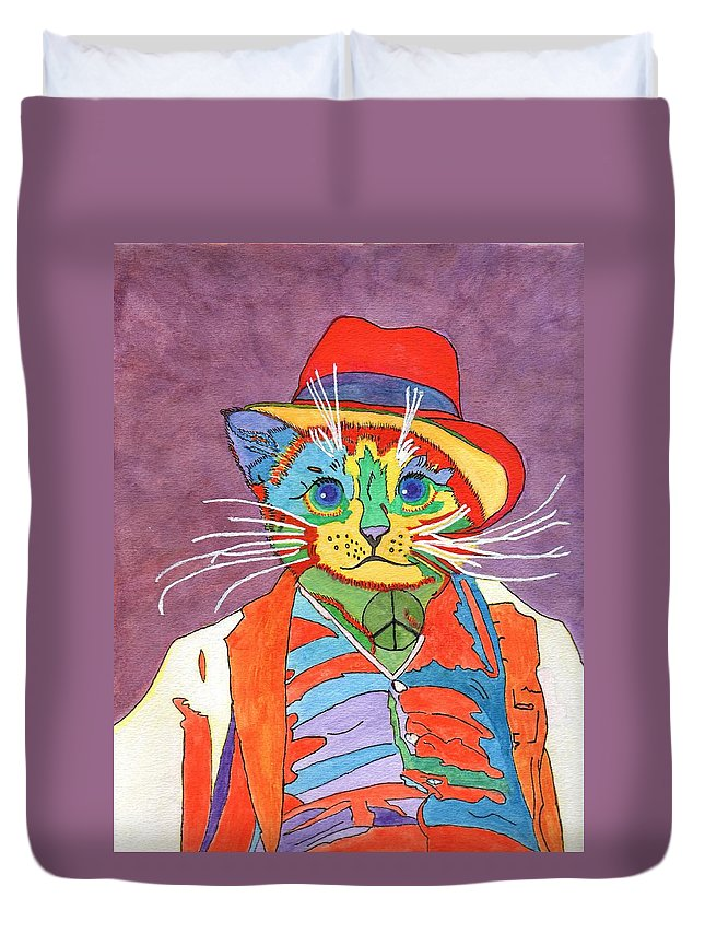 Purple Background Duvet Cover featuring the painting Mr.wisker For Peace by Connie Valasco