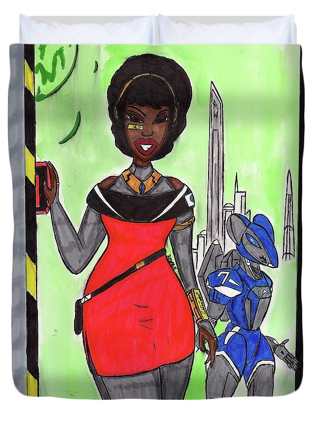 Original Character Duvet Cover featuring the mixed media Ms Sinclair by Ronald Woods