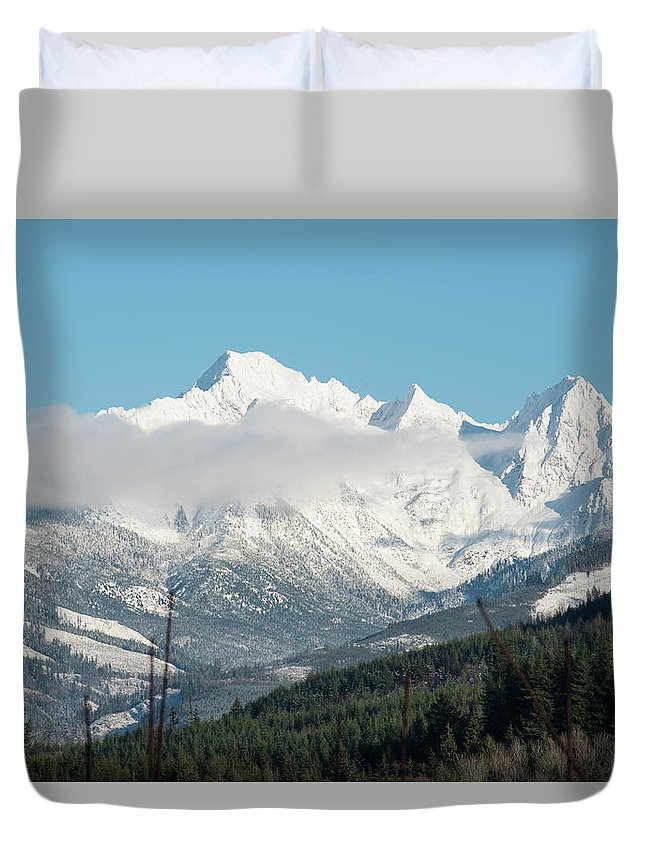 Mt Baker And Clouds Duvet Cover featuring the photograph Mt Baker And Clouds by Tom Cochran