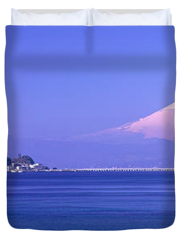 Photography Duvet Cover featuring the photograph Mt Fuji Kanagawa Japan by Panoramic Images