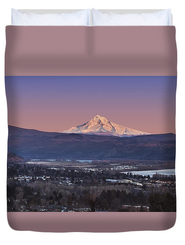 Volcano Duvet Cover featuring the photograph Mt. Hood From Camas by John Christopher