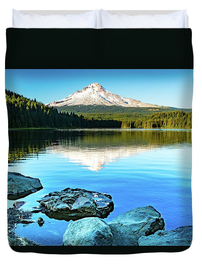 Lake Duvet Cover featuring the photograph Mt. Hood In Trillium Lake by William Downs