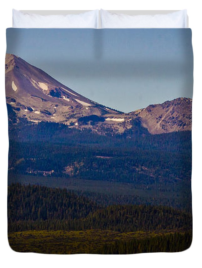 Mt Lassen Duvet Cover featuring the photograph Mt Lassen And Chaos Crags by Albert Seger