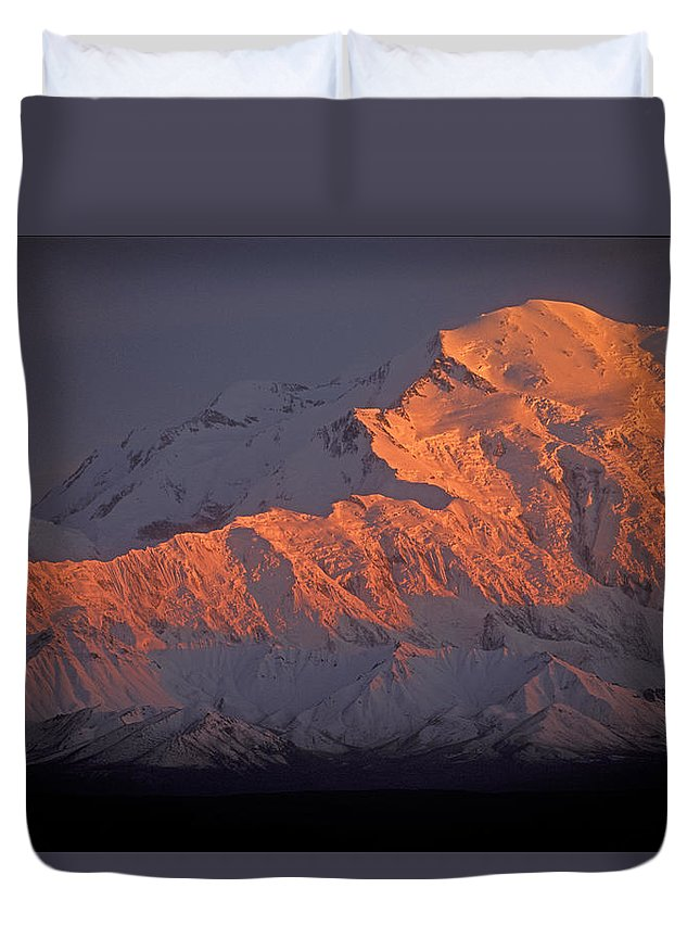 Denali National Park Duvet Cover featuring the photograph Mt. Mckinley Sunset by Sandra Bronstein