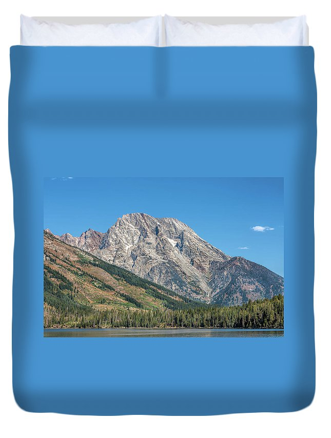 America Duvet Cover featuring the photograph Mt Moran At The Grand Tetons by John M Bailey
