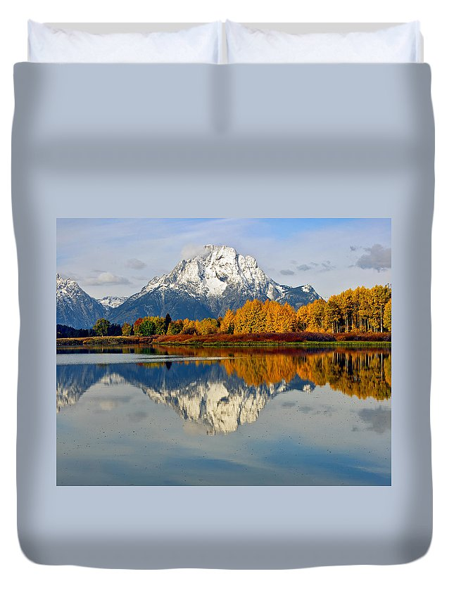 Mt Moran From Ox Bow Bend On A Fall Morning Grand Teton National Park Wyoming Duvet Cover featuring the photograph Mt Moran From Ox Bow Bend On A Fall Morning by Gary Langley