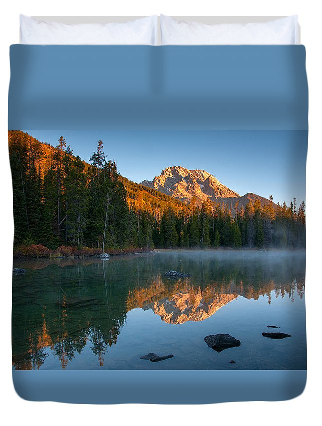 Grand Teton Duvet Cover featuring the photograph Mt. Moran From String Lake by Steve Stuller