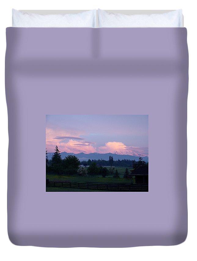 Mt. Rainier Duvet Cover featuring the photograph Mt Rainier Blush by Shirley Heyn