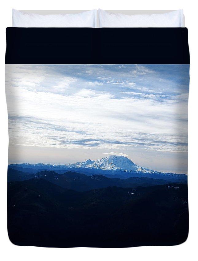 Landscape Duvet Cover featuring the photograph Mt Rainier Under Clouds by Kenneth Willis