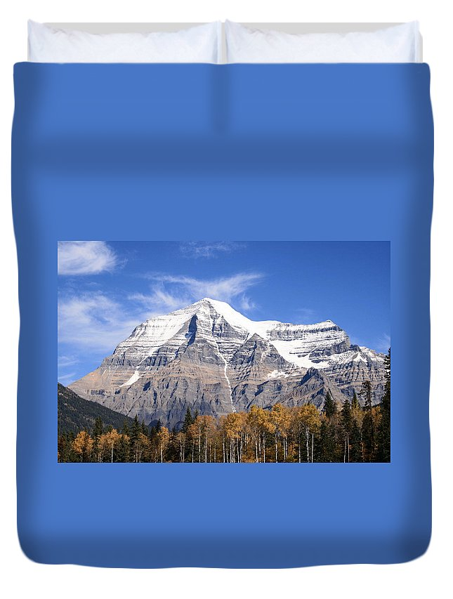 Rocky Mountain Duvet Cover featuring the photograph Mt. Robson- Canada's Tallest Peak by Tiffany Vest