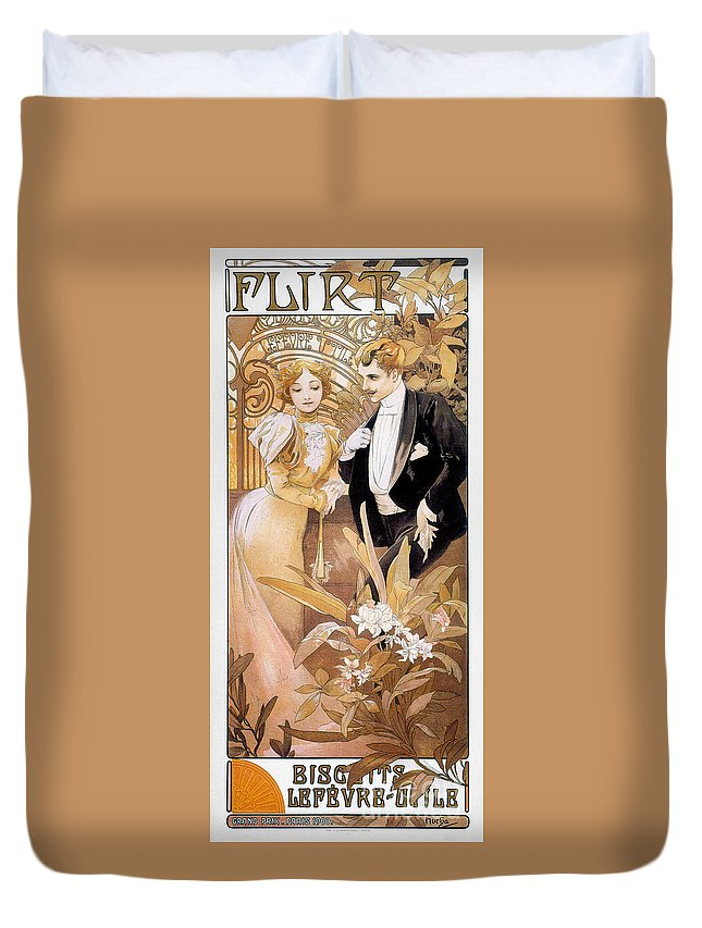 1895 Duvet Cover featuring the photograph Mucha: Biscuit Ad, C1895 by Granger