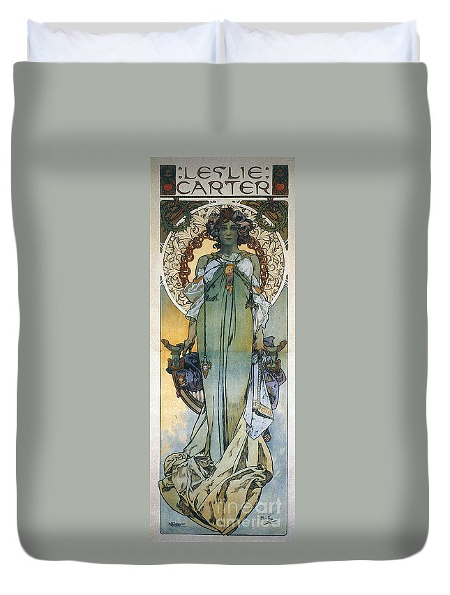 1909 Duvet Cover featuring the photograph Mucha: Theatrical Poster by Granger