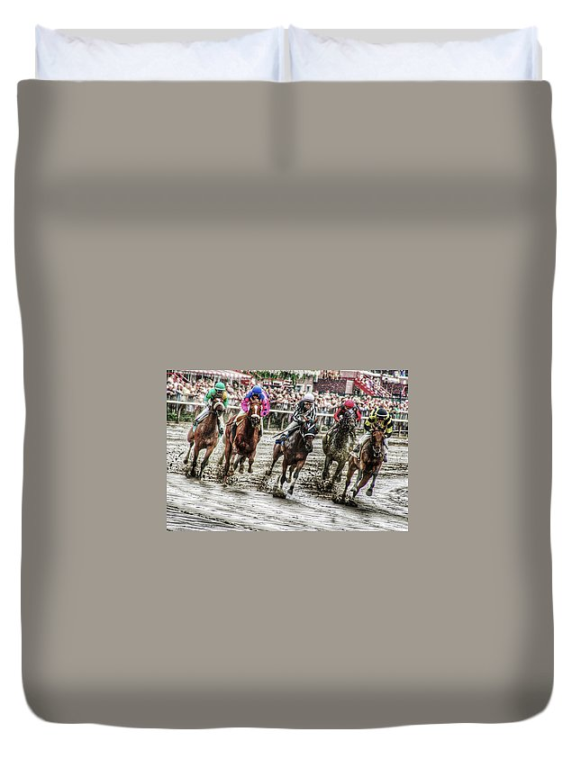 Race Horses Duvet Cover featuring the photograph Mudders by Jeffrey PERKINS