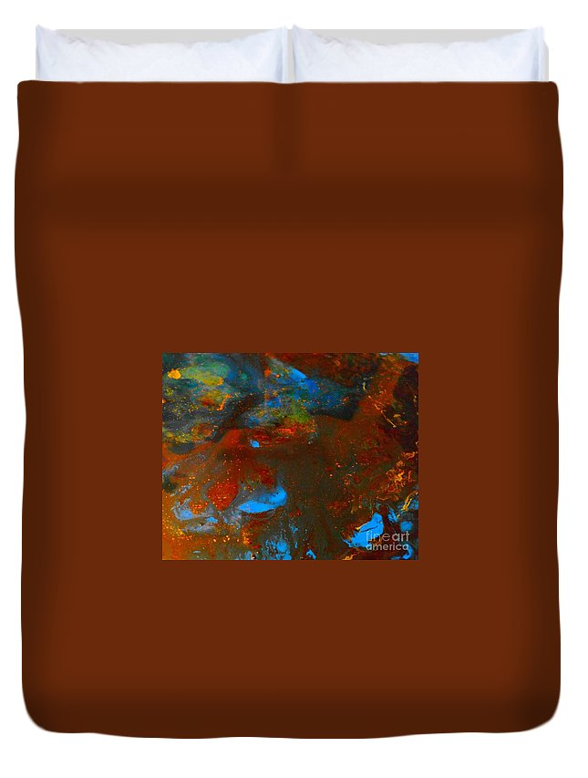 Water Duvet Cover featuring the mixed media Muddy Water by Nicky Williams