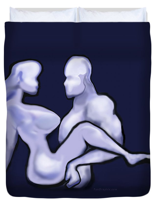 Mudflap Duvet Cover featuring the digital art Mudflap Babe N Dude by Kevin Middleton