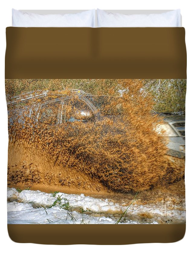 Jeep Duvet Cover featuring the photograph Mudslide by Ram Photography