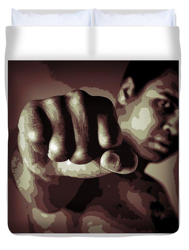 Muhammad Ali Fist Poster Duvet Cover featuring the digital art Muhammad Ali Fist Poster by Dan Sproul