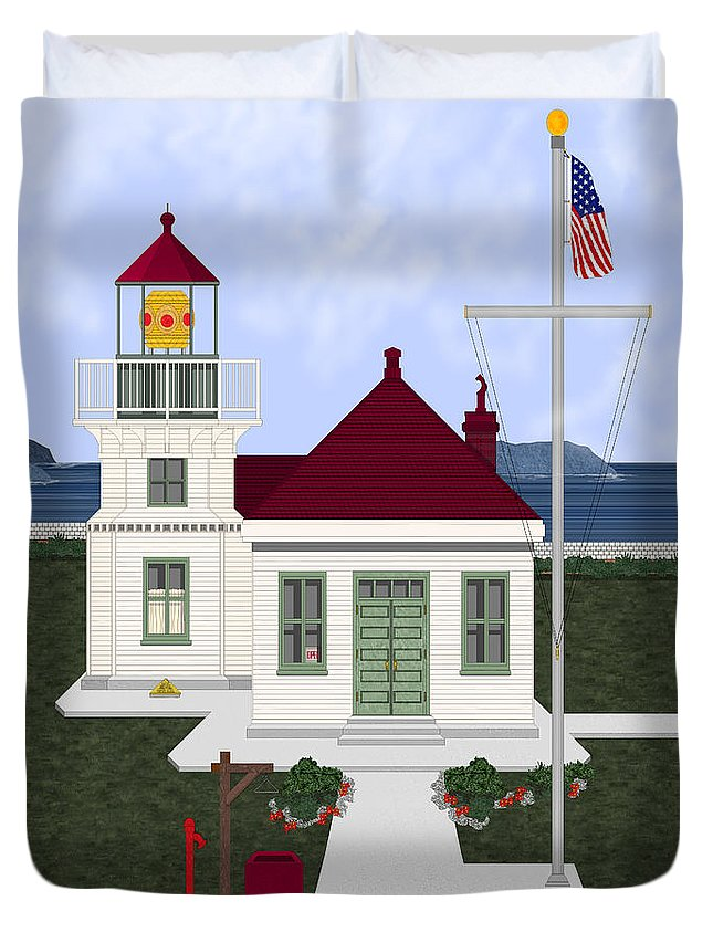 Lighthouse Duvet Cover featuring the painting Mukilteo Light by Anne Norskog