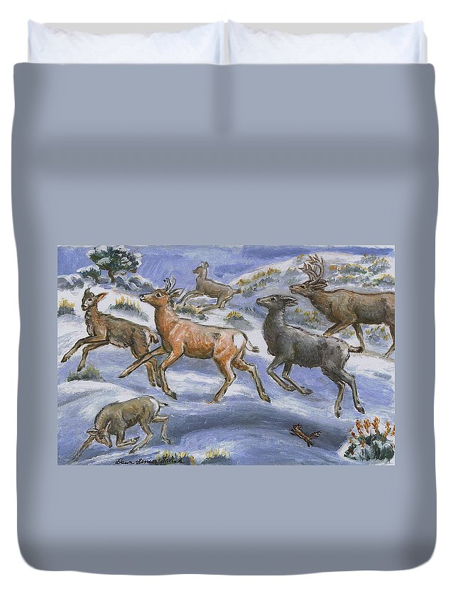 Holiday Duvet Cover featuring the painting Mule Deer Surprise by Dawn Senior-Trask