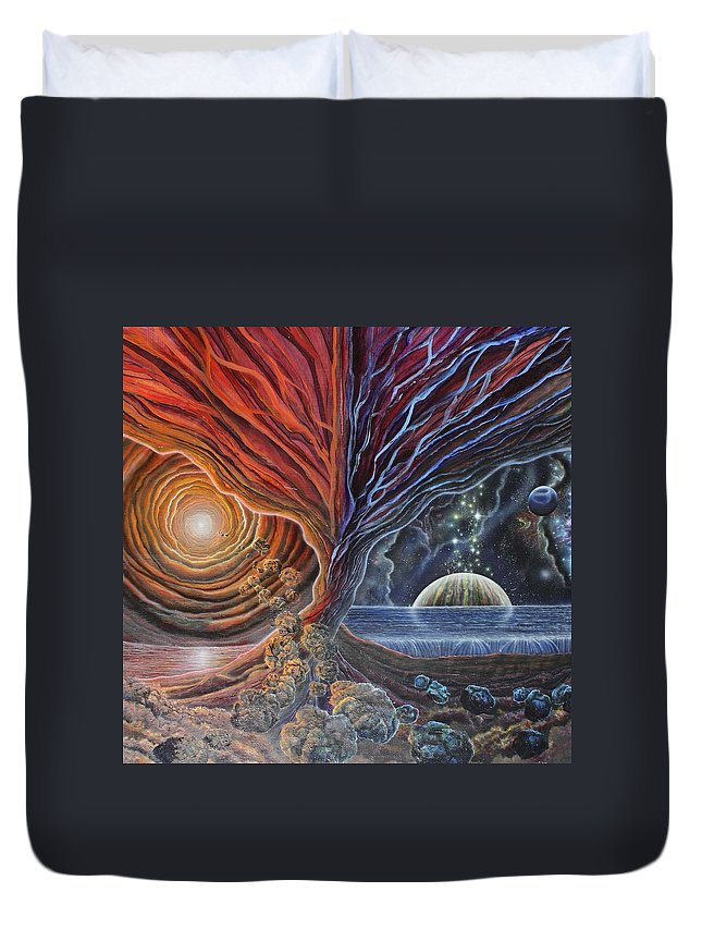 Trans-dimensional Duvet Cover featuring the painting Multiverse 3 by Sam Del Russi