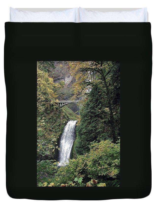 Multnomah Duvet Cover featuring the photograph Multnomah Falls 3 by D'Arcy Evans