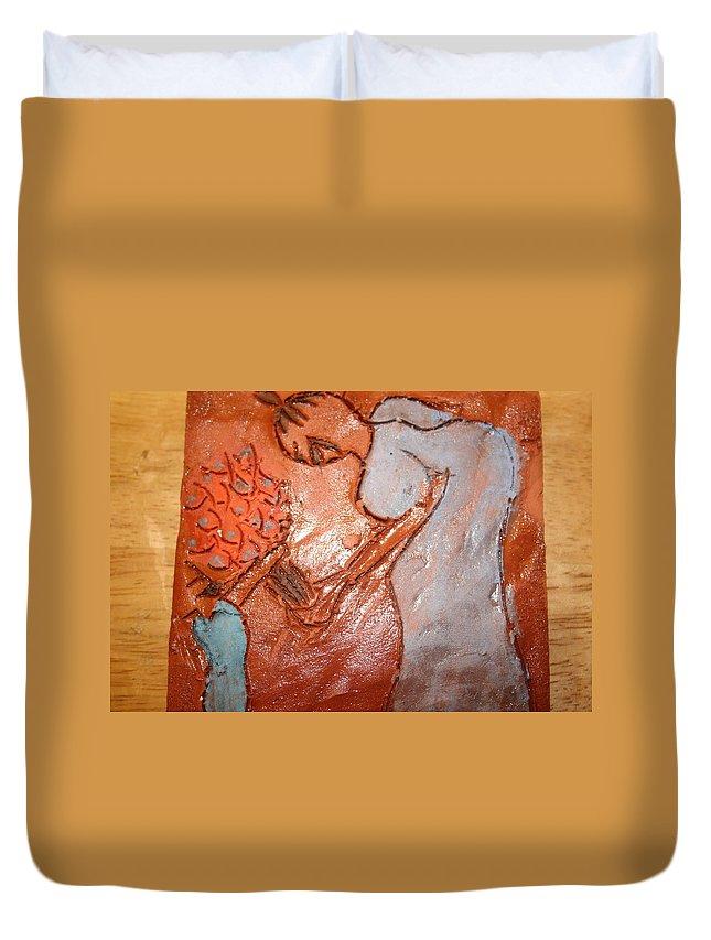 Jesus Duvet Cover featuring the ceramic art Mum 2 - Tile by Gloria Ssali